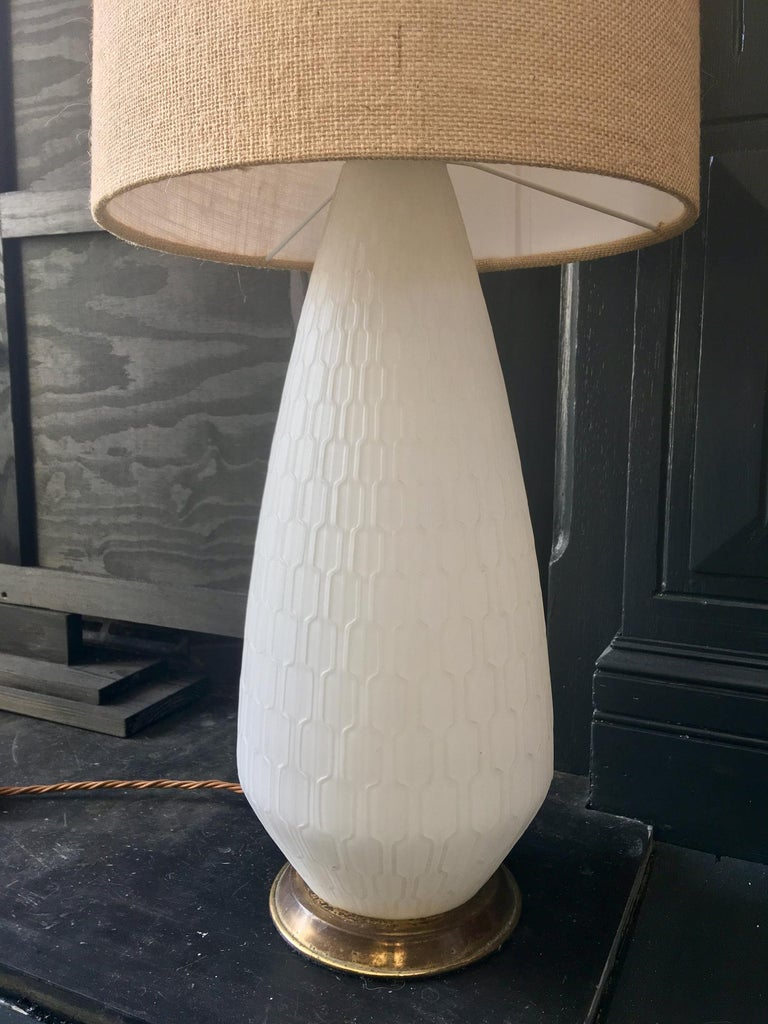 Mid-Century Modern White Glass and Brass Lamp with Three-Way Switch, Mid-20th Century European For Sale