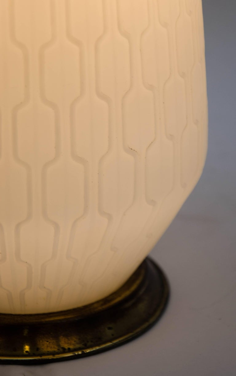 White Glass and Brass Lamp with Three-Way Switch, Mid-20th Century European For Sale 2
