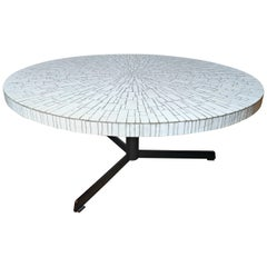White Glass Mosaic Coffee Table, Germany, 1970s