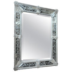 White Glass Murano Wall Mirror, circa 1900