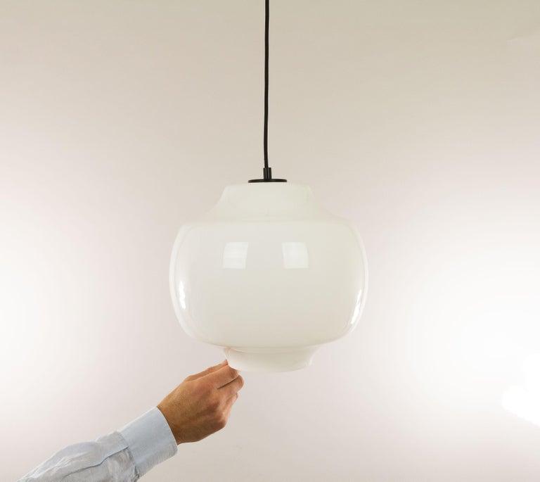 Metal White Glass Pendant by Alessandro Pianon for Vistosi, 1960s