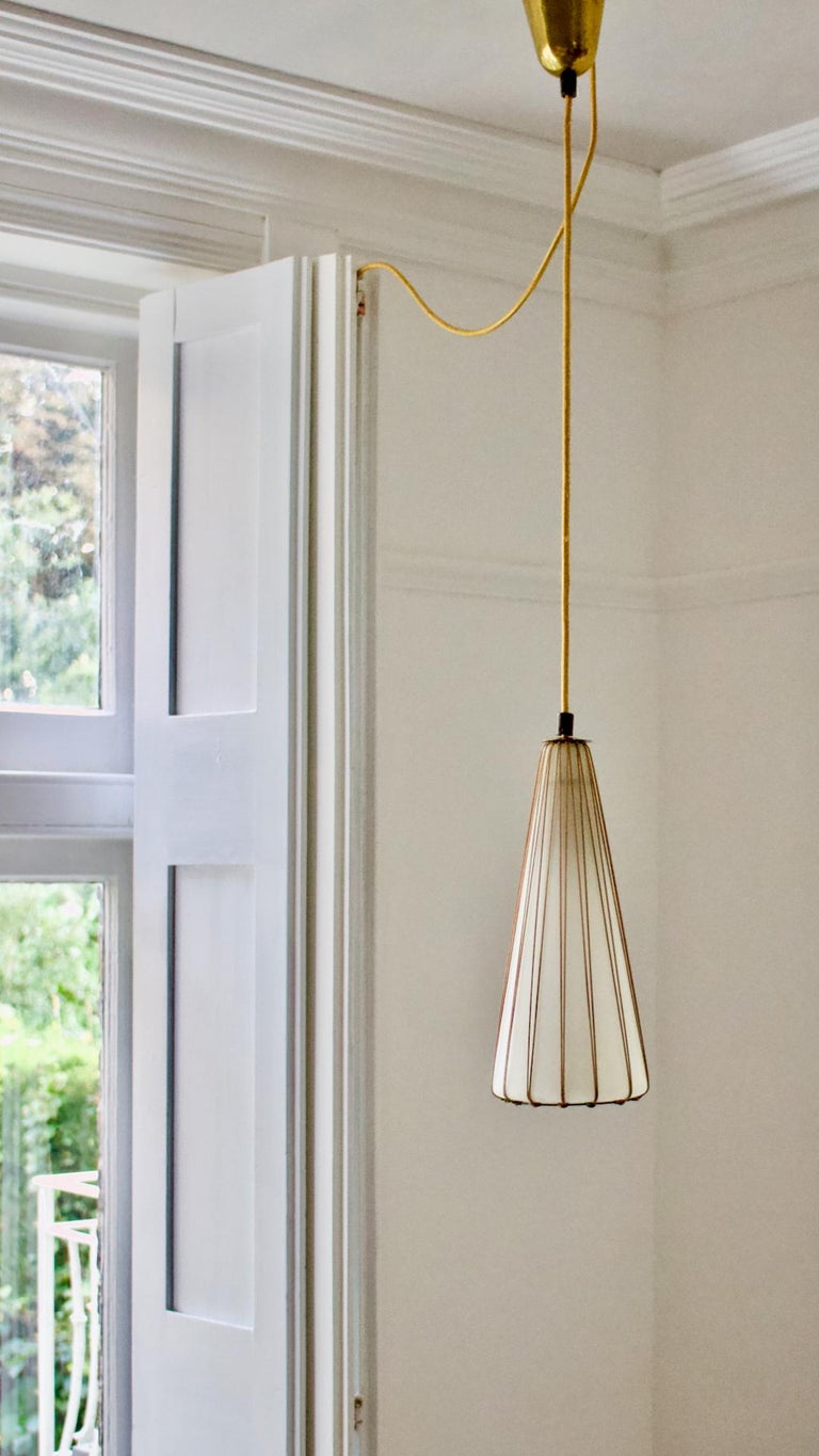 White Glass Pendant Light with Rattan & Brass Details by Idman Oy, Finland 4