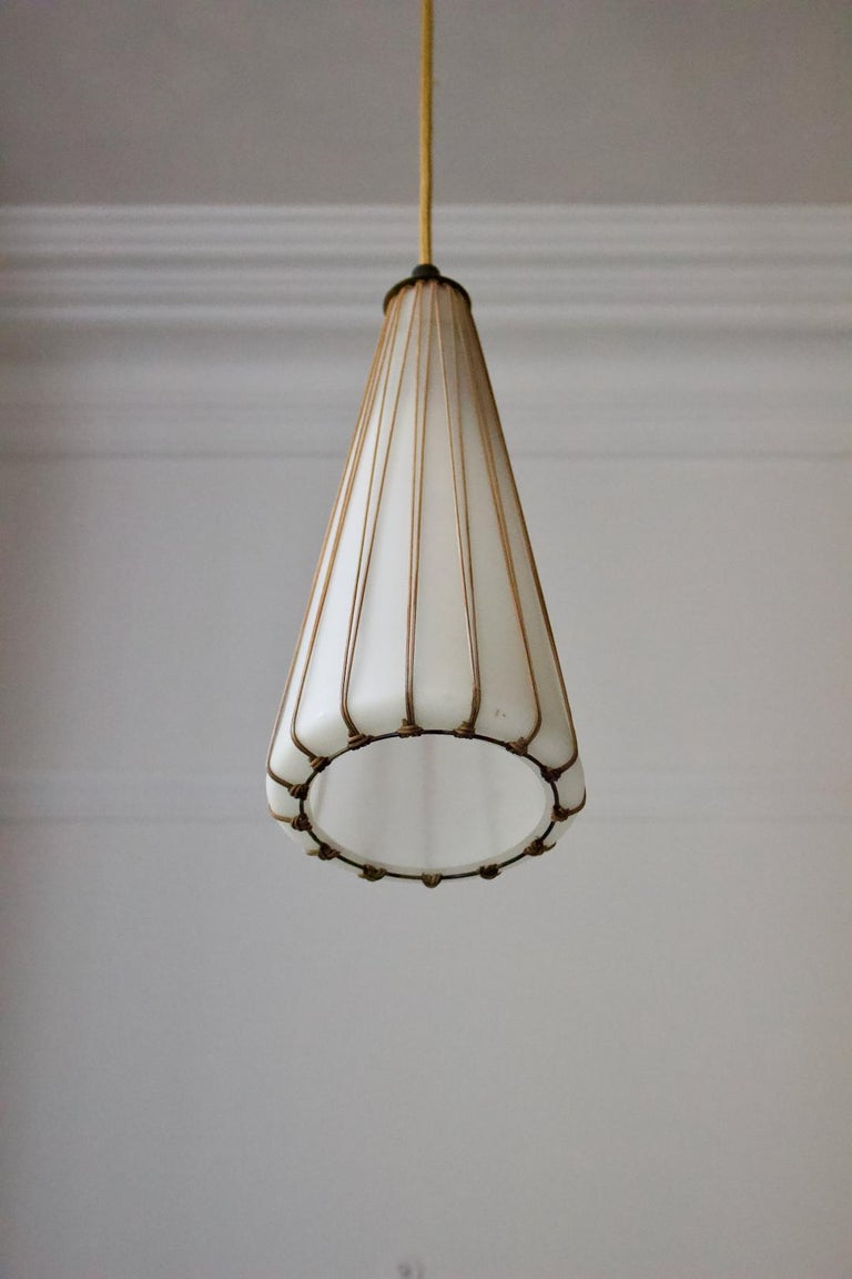 Finnish White Glass Pendant Light with Rattan & Brass Details by Idman Oy, Finland
