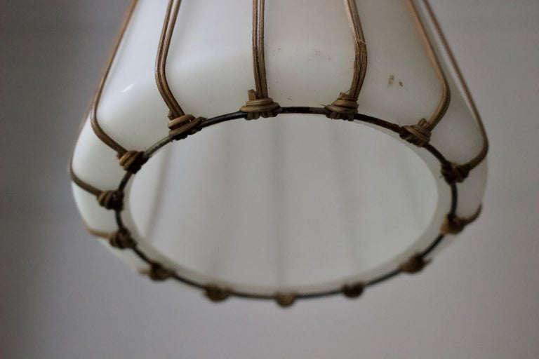 20th Century White Glass Pendant Light with Rattan & Brass Details by Idman Oy, Finland