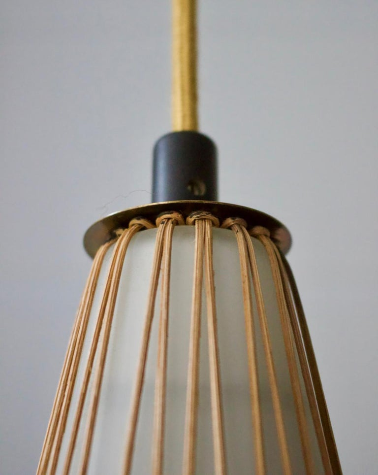 White Glass Pendant Light with Rattan & Brass Details by Idman Oy, Finland 1