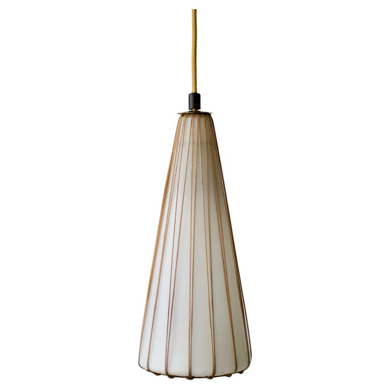 White Glass Pendant Light with Rattan & Brass Details by Idman Oy, Finland