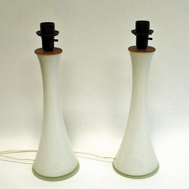 Scandinavian Modern White Glass Table Lamp Pair by Berndt Nordstedt for Bergboms, Sweden, 1960s For Sale