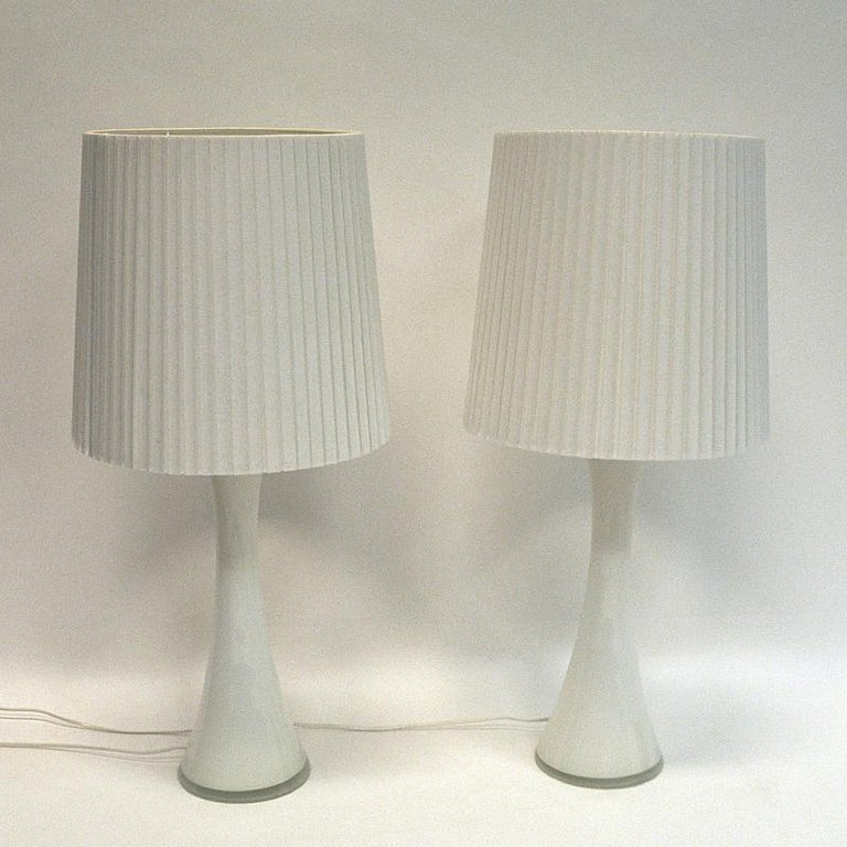 Mid-20th Century White Glass Table Lamp Pair by Berndt Nordstedt for Bergboms, Sweden, 1960s For Sale