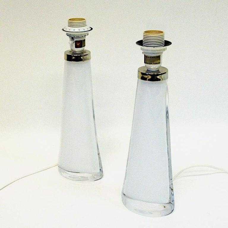 Scandinavian Modern White Glass Tablelamp Pair RD1566 by Carl Fagerlund for Orrefors, Sweden 1960s For Sale