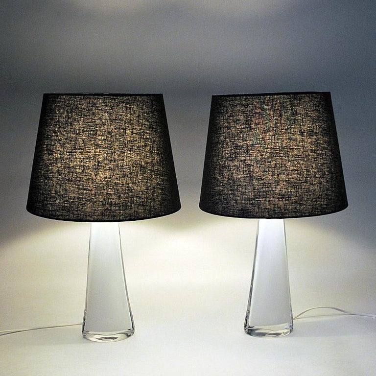 Mid-20th Century White Glass Tablelamp Pair RD1566 by Carl Fagerlund for Orrefors, Sweden 1960s For Sale