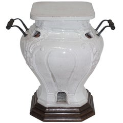 White Glazed Faience Ceramic Coal Heater or Plant Stand, French, 19th Century