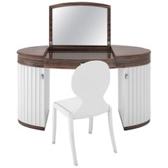 White Glossy Design Dressing Table Set
