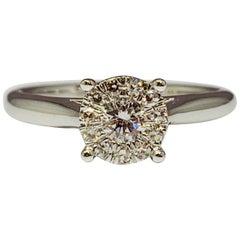 White Gold 0.10 Carat Round Diamond Cluster Engagement Ring