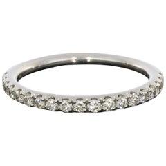 White Gold 0.25 Carat Round Diamond Prong Set Wedding Band Stack Ring