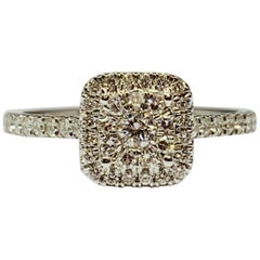 White Gold 0.43 Carat Round Diamond Cushion Cluster Engagement Ring