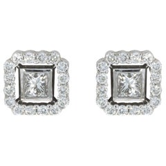 White Gold 0.52 Carat Princess Diamond Studded Earrings