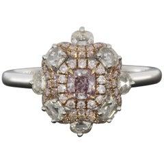 White Gold 0.70 Carat Cushion Diamond Halo Ladies Fashion Ring