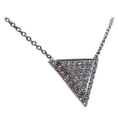 White Gold 0.70 Carat Diamond Geometric Triangle Necklace