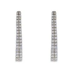 White Gold 0.75 Carat Round Diamond Hoop Earrings