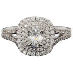 White Gold 0.84 Carat Oval Diamond Halo Engagement Ring