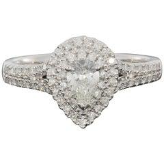 White Gold 0.85 Carat Pear Diamond Halo Engagement Ring