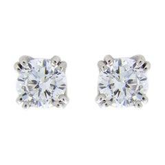 White Gold 0.90 Carat Round Diamond Stud Earrings