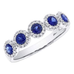 White Gold 0.90 Carat Total Sapphire Diamond Band