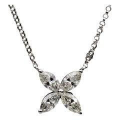 White Gold 0.92ct Marquise Diamond Flower Pendant