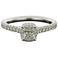 White Gold 0.96 Carat Radiant Diamond Halo Engagement Ring