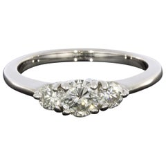 White Gold 0.96 Carat Round Diamond Three-Stone Engagement Ring