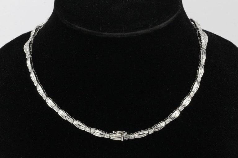White Gold 10 Carat Total Baguette and Round Cut Diamond Necklace In Excellent Condition For Sale In Cape May, NJ