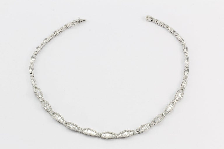 Women's White Gold 10 Carat Total Baguette and Round Cut Diamond Necklace For Sale