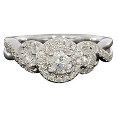 White Gold 1.00 Carat Round Diamond Halo Engagement Ring