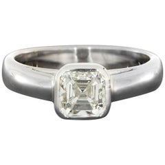 White Gold 1.02 Carat Asscher Diamond Solitaire Engagement Ring