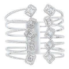 White Gold 10.27 Carat Diamond Cuff Bracelet