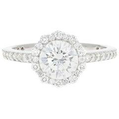 White Gold 1.03 Carat Round Brilliant Diamond Halo Engagement Ring