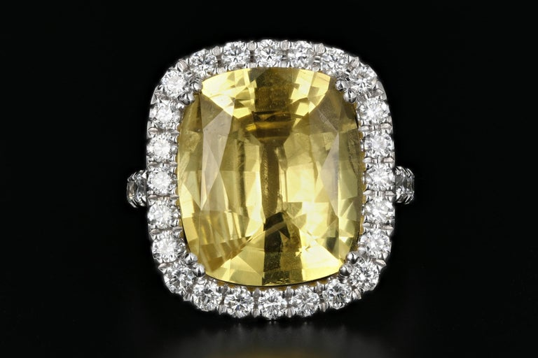 Era: Modern  Hallmarks: 14K FJD, 1.490  Composition: 14K White Gold  Primary Stone: No Heat Natural Yellow Sapphire  Carat Weight: 10.83 Carats  Secondary Stone: Diamond  Carat Weight: 1.49 Carats  Color/Clarity: G/H - Vs1/2  Ring Length: 19.27