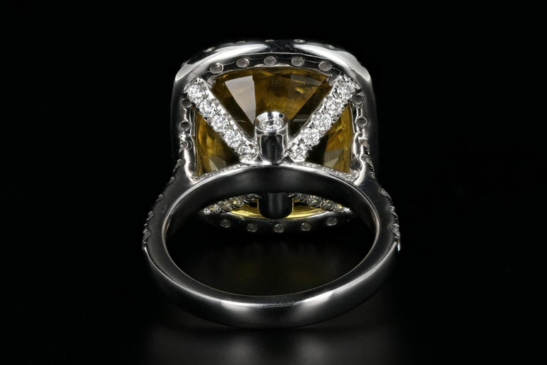 Women's or Men's White Gold 10.83 Natural No Heat Yellow Sapphire and Diamond Ring AGL Certified For Sale