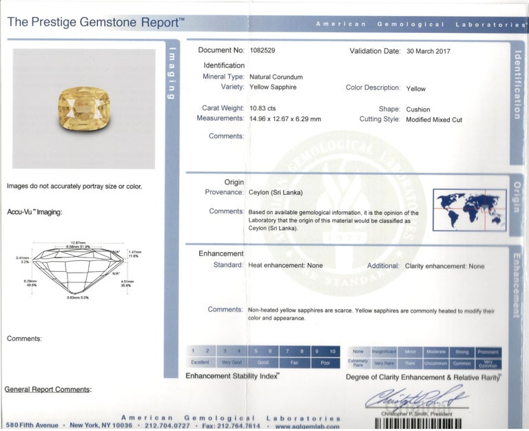 White Gold 10.83 Natural No Heat Yellow Sapphire and Diamond Ring AGL Certified For Sale 4