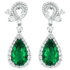White Gold 11 Carat Diamond and Emerald Earrings
