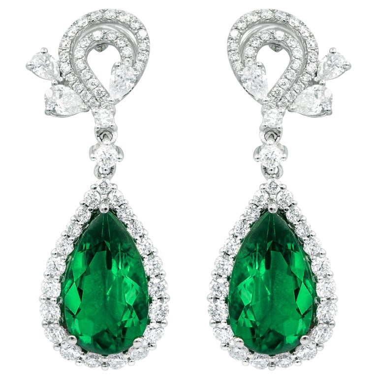 White Gold 11 Carat Diamond and Emerald Earrings For Sale