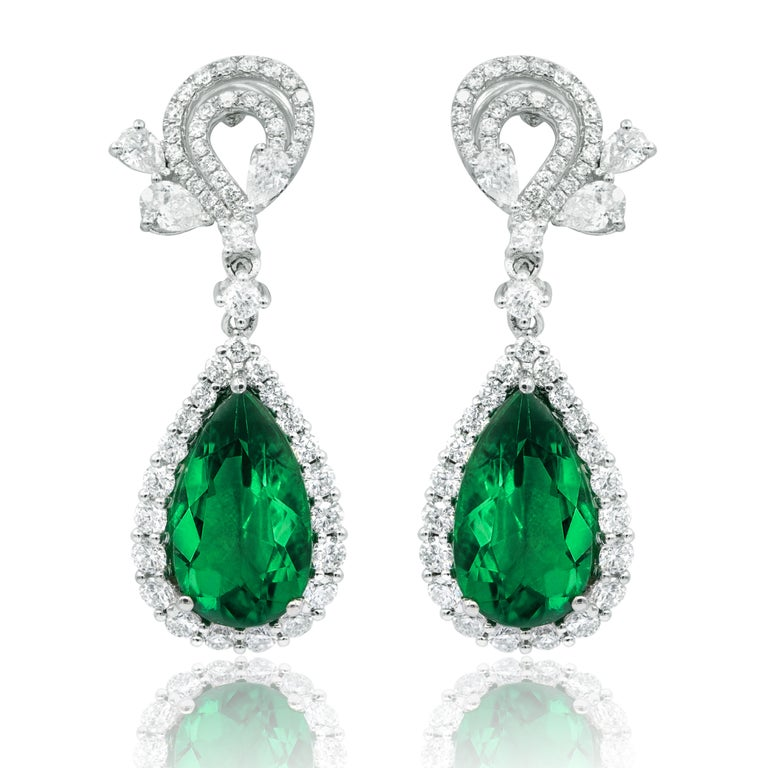 Pear Cut White Gold 11 Carat Diamond and Emerald Earrings For Sale