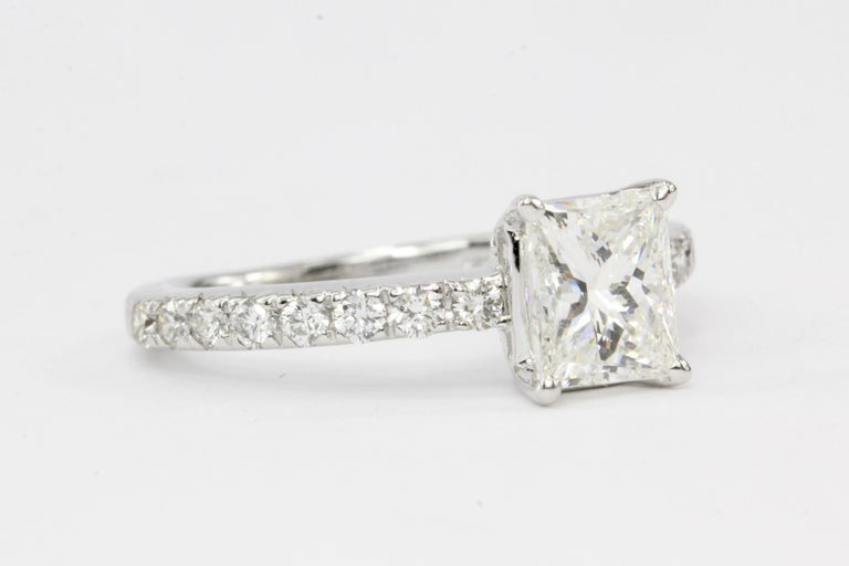White Gold 1.11 Carat Princess Cut Diamond Engagement Ring In Excellent Condition For Sale In Cape May, NJ