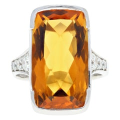 White Gold 11.2 Carat Citrine and Diamond Cocktail Ring