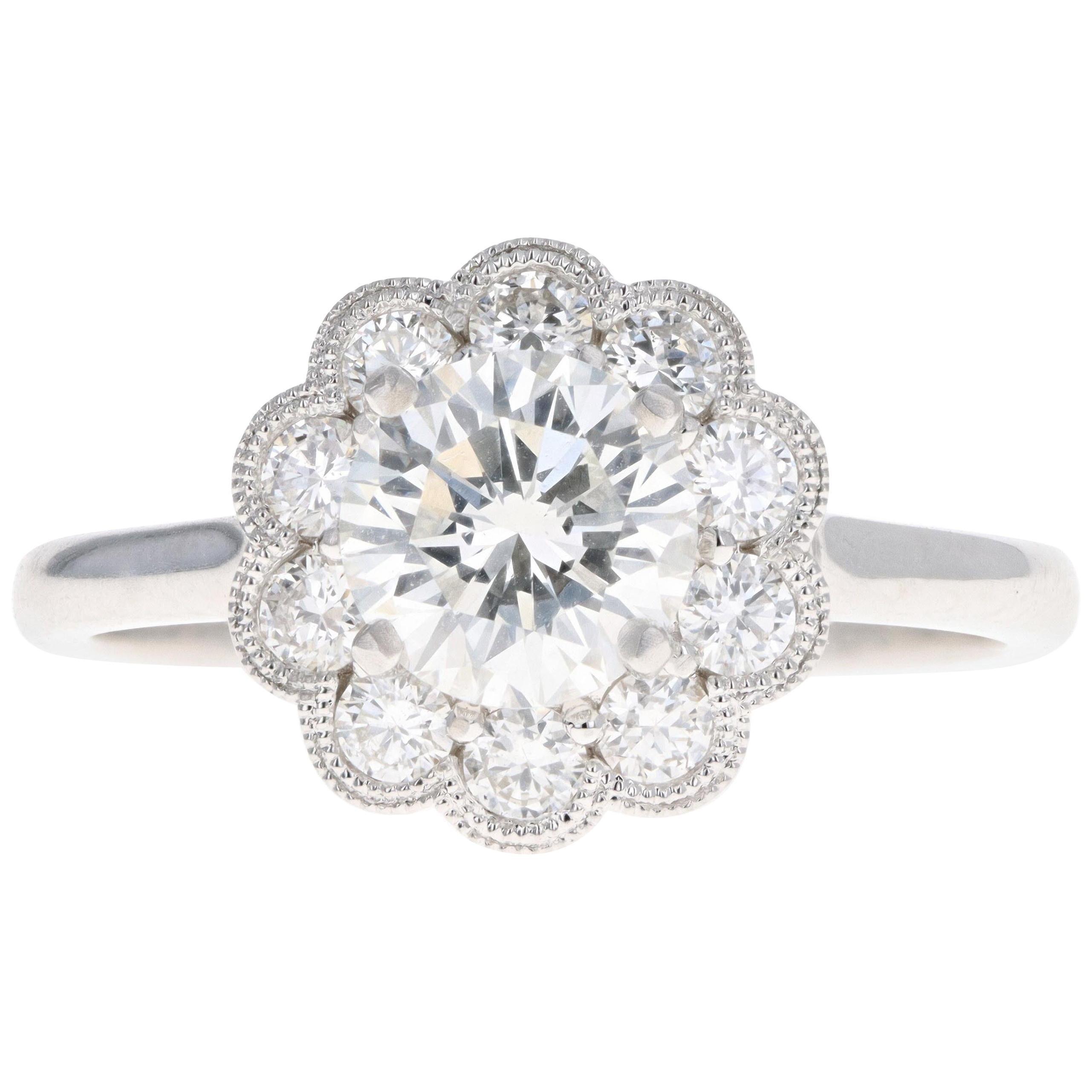 White Gold 1.13 Carat Round Brilliant Diamond Halo Engagement Ring