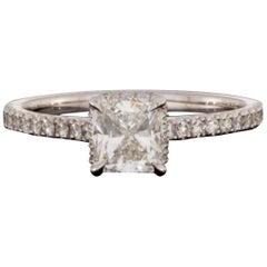 White Gold 1.15 Carat Cushion Diamond Halo Engagement Ring