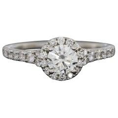 White Gold 1.15 Carat Round Diamond Halo Engagement Ring