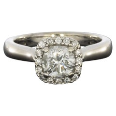 White Gold 1.15 Carat Round Diamond Halo Engagement Ring