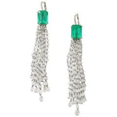 Nina Runsdorf White Gold 11.86 Carat Colombian Emerald Fringe Earrings