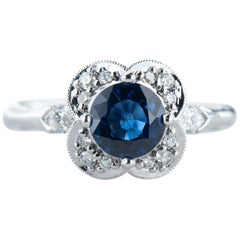 White Gold 1.20 Carat Round Blue Sapphire Floral Halo Ring with Diamond Accents